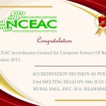 NCEAC Accreditation Granted for Computer Science Of Batch-6 Session 2015.