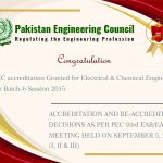 PEC accreditation Granted for Electrical & Chemical Engineering For Batch-6 Session 2015