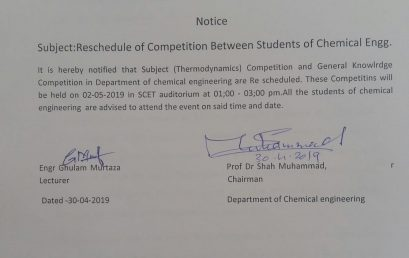 Reschedule of Competition between students of Chemical Engineering