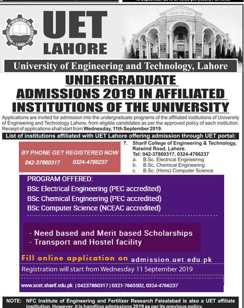 UET Undergraduate Admission in Affiliated Institutes