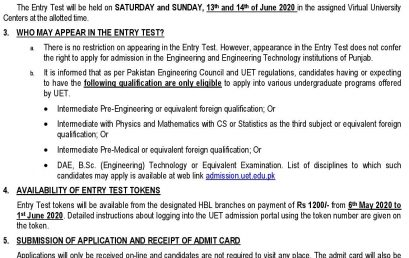 UET Combined Entry Test 2020.