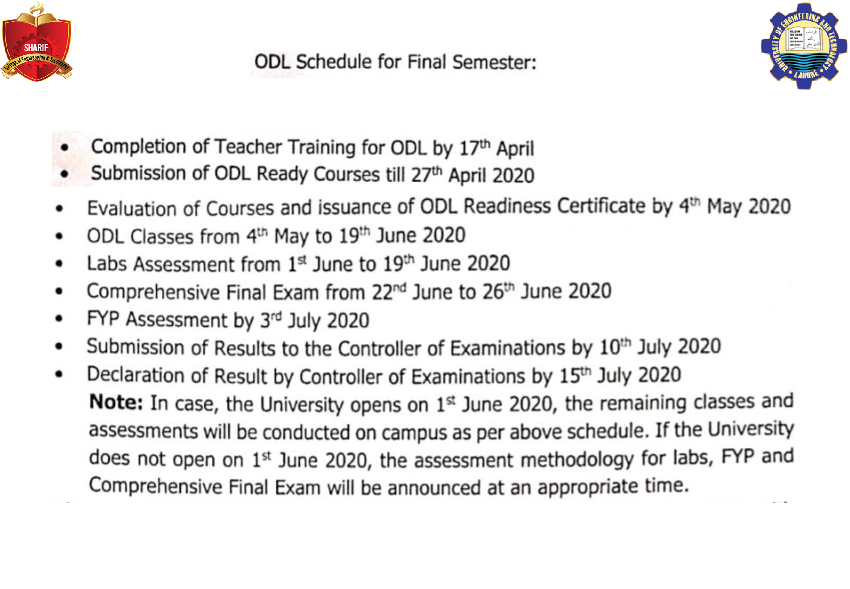 ODL Schedule For Final Semester