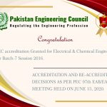 PEC accreditation Granted for Electrical & Chemical Engineering